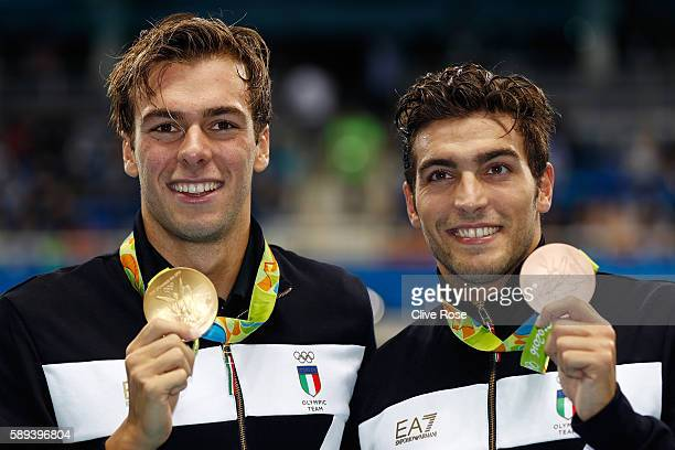 Gold medalist Gregorio Paltrinieri of Italy and Gabriele Detti of Italy pose during the medal ceremony for the Men's 1500m Freestyle Final on Day 8...