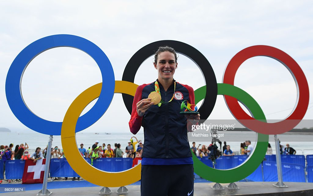 Gold medalist Gwen Jorgensen of the United States poses for a photo during the medal ceremony for the Women's Triathlon on Day 15 of the Rio 2016 Olympic Games at Fort Copacabana on August 20, 2016 in Rio de Janeiro, Brazil.