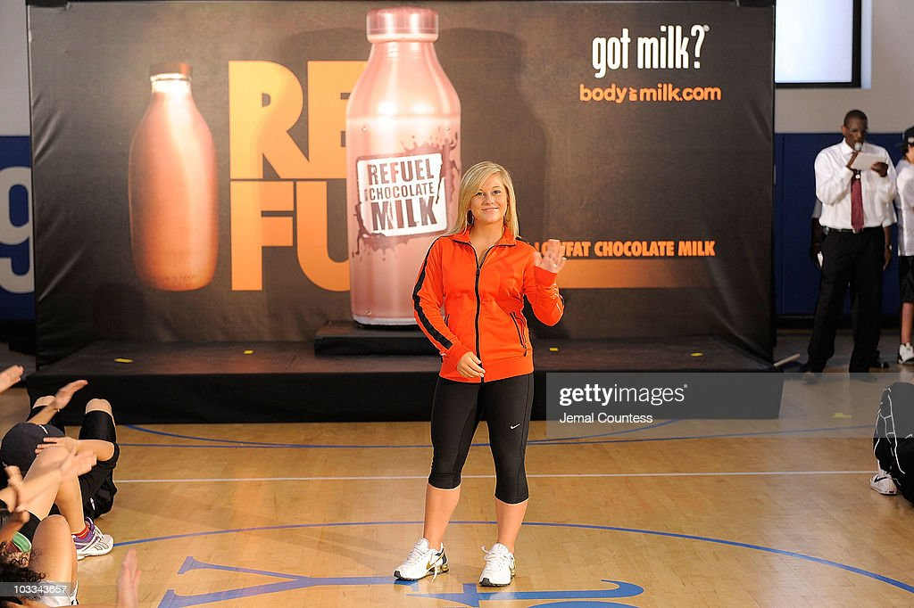 Gold Medalist gymnast <a gi-track='captionPersonalityLinkClicked' href=/galleries/search?phrase=Shawn+Johnson+-+Gymnast&family=editorial&specificpeople=2330927 ng-click='$event.stopPropagation()'>Shawn Johnson</a> launches the Refuel America Program and unveils the newest Milk Mustache ads at the 92nd Street Y on August 11, 2010 in New York City. Gold medalists Chris Bosh, Apolo Anton Ohno and <a gi-track='captionPersonalityLinkClicked' href=/galleries/search?phrase=Shawn+Johnson+-+Gymnast&family=editorial&specificpeople=2330927 ng-click='$event.stopPropagation()'>Shawn Johnson</a> teamed up today to announce a new campaign highlighting the importance of refueling with lowfat chocolate milk during the two-hour recovery window after exercise.