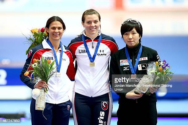 Gold medalist Heather Richardson of the USA Silver medalist Brittany Bowe of the USA and Bronze medalist Nao Kodaira of Japan pose for a photo after...