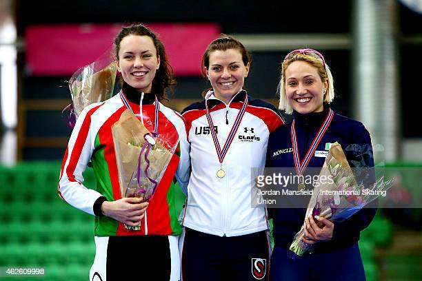 Gold medalist Heather Richardson of the USA Silver medalist Marina Zuyeva of Belarus and Bronze medalist Francesca Lollobrigida of Italy pose for a...