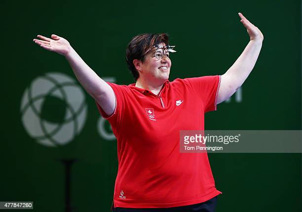 Gold medalist Heidi Diethelm Gerber of Switzerland celebrates victory during the Women's Pistol Shooting 25m final on day eight of the Baku 2015...