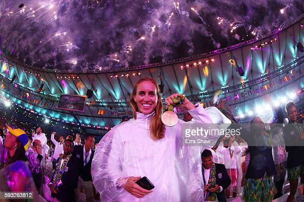 Gold medalist Helen Glover of Great Britain celebrates during the Closing Ceremony on Day 16 of the Rio 2016 Olympic Games at Maracana Stadium on...