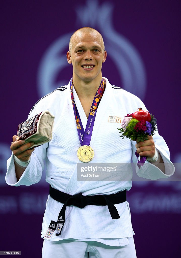 Gold medalist <a gi-track='captionPersonalityLinkClicked' href=/galleries/search?phrase=Henk+Grol&family=editorial&specificpeople=4920749 ng-click='$event.stopPropagation()'>Henk Grol</a> of the Netherlands stands on the podium during the medal ceremony for the Men's Judo -100kg during day fifteen of the Baku 2015 European Games at Heydar Aliyev Arena on June 27, 2015 in Baku, Azerbaijan.