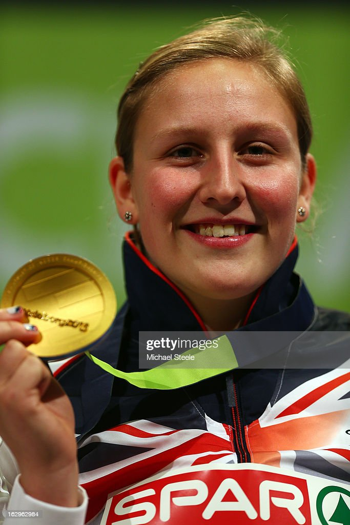 Gold medalist Holly Bleasdale of Great Britain and Northern Ireland poses during the victory ceremony for the Women's Pole Vault on day two of the European Athletics Indoor Championships at Scandinavium on March 2, 2013 in Gothenburg, Sweden.