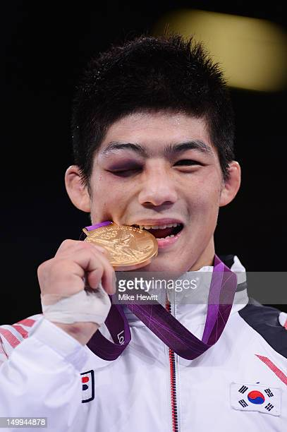 Gold medalist Hyeonwoo Kim of Korea in the Men's 66kg GrecoRoman QuarterFinal on Day 11 of the London 2012 Olympic Games at ExCeL on August 7 2012 in...