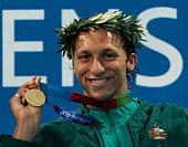 Gold medalist Ian Thorpe of Australia silver medalist Pieter Van Den Hoogenband of the Netherlands and bronze medalist Michael Phelps of USA...