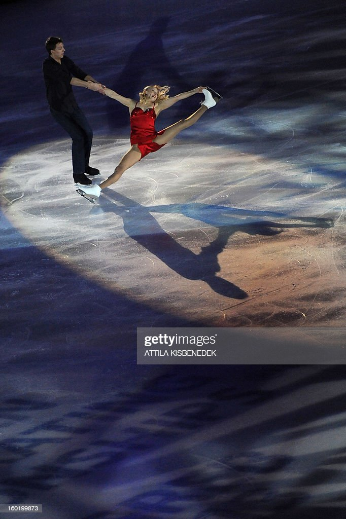 Gold medalist ice dancer pair Russian Ekaterina Boborova and Dmitri Soloviev perform on ice at the Dom Sportova sports hall in Zagreb on January 27, 2013 during the gala of the ISU European Figure Skating Championships.