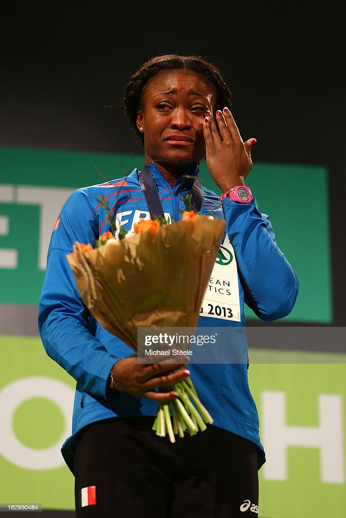 Gold medalist <a gi-track='captionPersonalityLinkClicked' href=/galleries/search?phrase=Ida+Antoinette+Nana+Djimou&family=editorial&specificpeople=6144069 ng-click='$event.stopPropagation()'>Ida Antoinette Nana Djimou</a> of France during the victory ceremony for the Women's Pentathlon during day one of the European Athletics Indoor Championships at Scandinavium on March 1, 2013 in Gothenburg, Sweden.