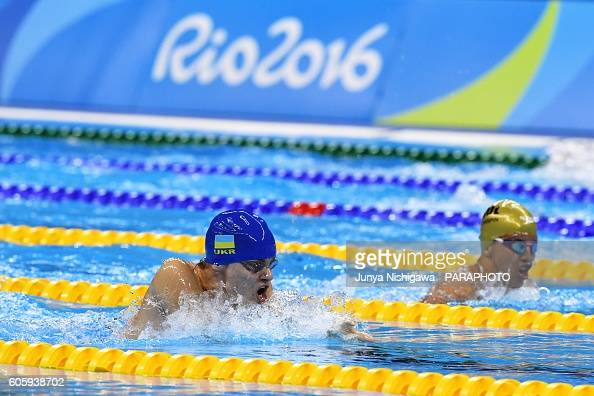 Gold medalist Ievgenii Bogodaiko of Ukraine competes in the Men's 100m Breaststroke SB6 Final on day 8 of the Rio 2016 Paralympic Games at Olympic...
