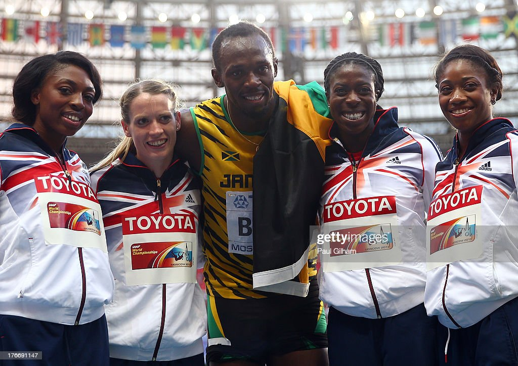 Gold medalist in the Men's 200 metres <a gi-track='captionPersonalityLinkClicked' href=/galleries/search?phrase=Usain+Bolt&family=editorial&specificpeople=604196 ng-click='$event.stopPropagation()'>Usain Bolt</a> of Jamaica (C) poses with Bronze medalists in the 4x400 metres Women's relay (L-R) Margaret Adeoye, <a gi-track='captionPersonalityLinkClicked' href=/galleries/search?phrase=Eilidh+Child&family=editorial&specificpeople=6146746 ng-click='$event.stopPropagation()'>Eilidh Child</a>, <a gi-track='captionPersonalityLinkClicked' href=/galleries/search?phrase=Christine+Ohuruogu&family=editorial&specificpeople=703549 ng-click='$event.stopPropagation()'>Christine Ohuruogu</a> and Shana Cox of Great Britain during Day Eight of the 14th IAAF World Athletics Championships Moscow 2013 at Luzhniki Stadium on August 17, 2013 in Moscow, Russia.
