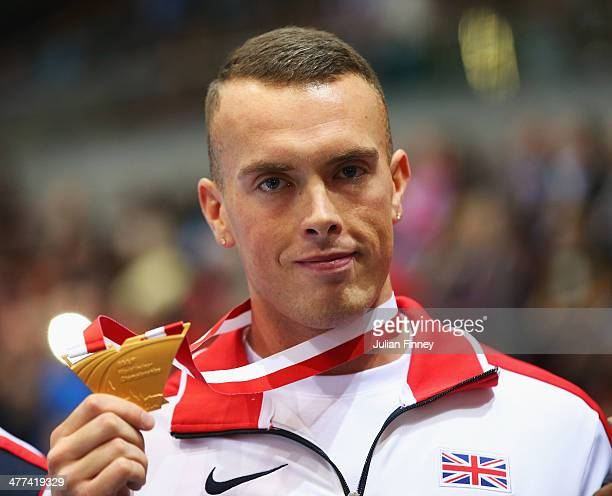 Gold medalist in the Men's 60m Richard Kilty of Great Britain poses during the medal ceremony on day three of the IAAF World Indoor Championships at...