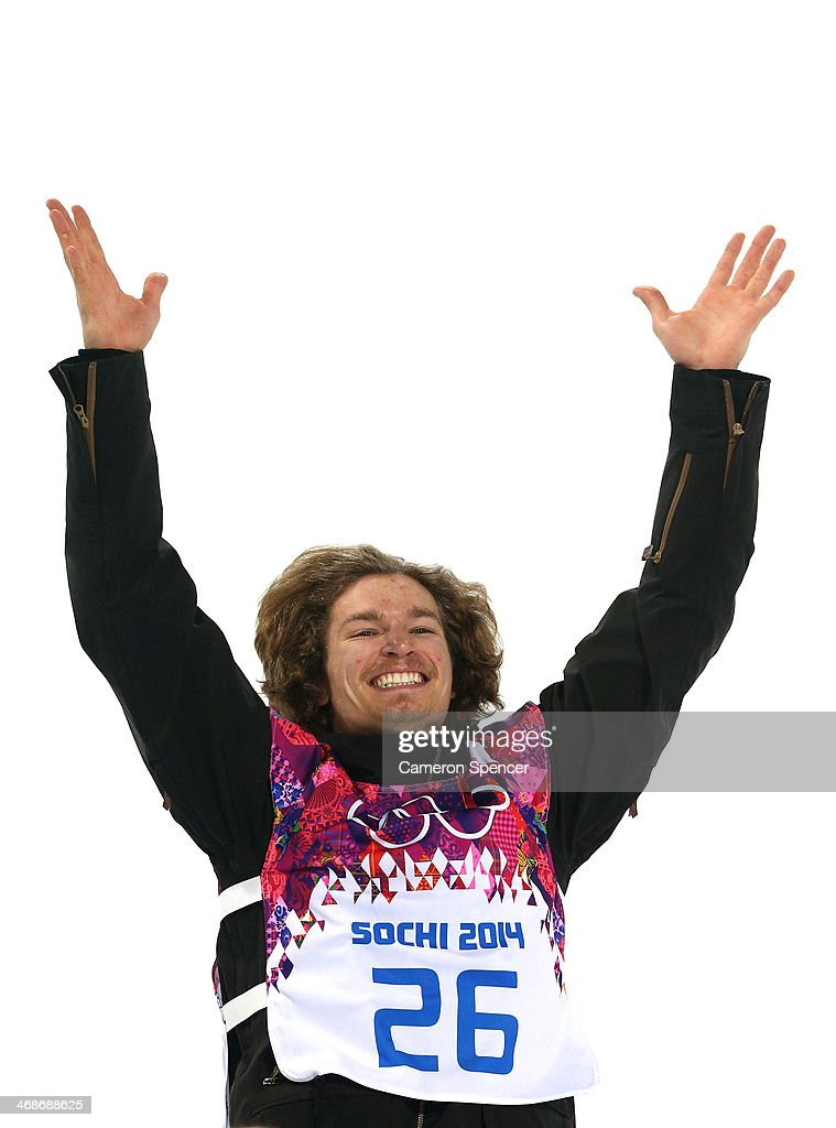 Gold medalist <a gi-track='captionPersonalityLinkClicked' href=/galleries/search?phrase=Iouri+Podladtchikov&family=editorial&specificpeople=820900 ng-click='$event.stopPropagation()'>Iouri Podladtchikov</a> of Switzerland celebrates on the podium during the flower ceremony for the Snowboard Men's Halfpipe Finals on day four of the Sochi 2014 Winter Olympics at Rosa Khutor Extreme Park on February 11, 2014 in Sochi, Russia.
