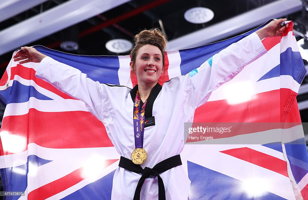 Gold medalist Jade Jones of Great Britain poses after the medal ceremony for the Women's Taekwondo 57kg final on day five of the Baku 2015 European...