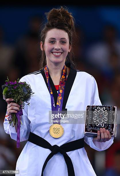 Gold medalist Jade Jones of Great Britain poses during the medal ceremony for the Women's Taekwondo 57kg final on day five of the Baku 2015 European...