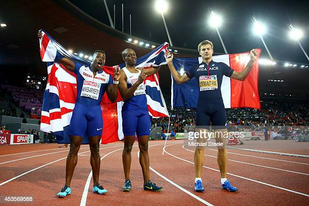 Gold medalist James Dasaolu of Great Britain and Northern Ireland and bronze medalist Harry AikinesAryeetey of Great Britain and Northern Ireland...
