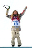 Gold medalist Jamie Anderson of the United States celebrates during the flower ceremony for the Women's Snowboard Slopestyle Finals during day two of...