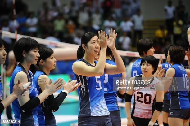 Gold medalist Japan team celebrate victory after beating Thailand 32 during the 19th Asian Senior Women's Volleyball Championship 2017 Final match at...