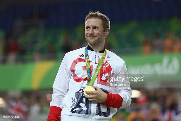 Gold medalist Jason Kenny of Great Britain celebrates during the medal ceremony after the Men's Keirin Finals race on Day 11 of the Rio 2016 Olympic...