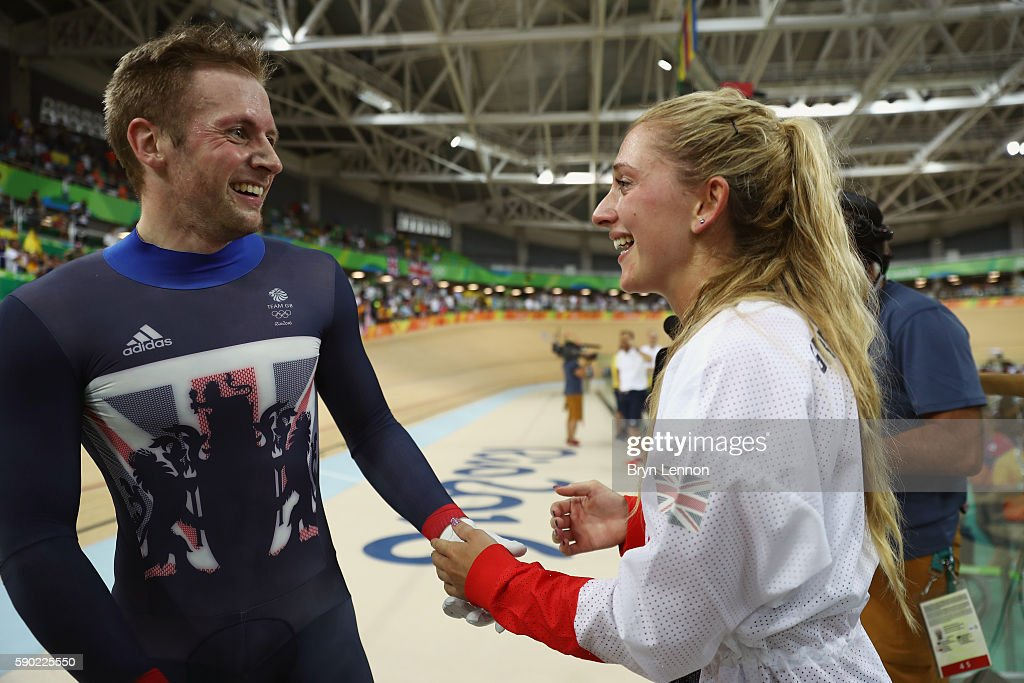 Gold medalist Jason Kenny of Great Britain celebrates with girlfriend cycling gold medalist Laura Trott of Great Britain after the Men's Keirin...