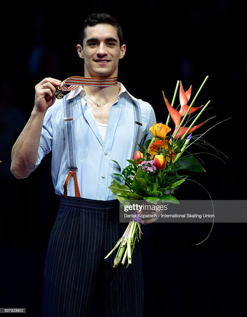 Gold medalist Javier Fernandez of Spain poses during the medal ceremony after the Men Free Skating on day two during the ISU European Figure Skating Championships 2016 on January 28, 2016 in Bratislava, Slovakia.