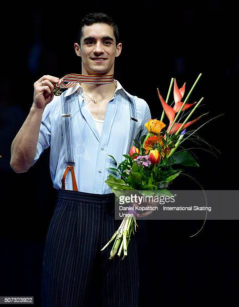 Gold medalist Javier Fernandez of Spain poses during the medal ceremony after the Men Free Skating on day two during the ISU European Figure Skating...