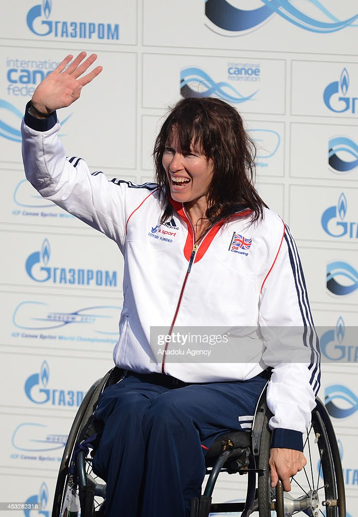Gold medalist Jeanette Chippington of Britain poses during the medal ceremony of the women's K1 (A) 200m final of the 2014 ICF Canoe Sprint World hampionships in Moscow, Russia on August 6, 2014.