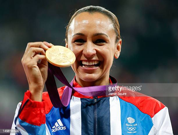 Gold medalist Jessica Ennis of Great Britain poses on the podium during the medal ceremony for Women's Heptathlon on Day 8 of the London 2012 Olympic...