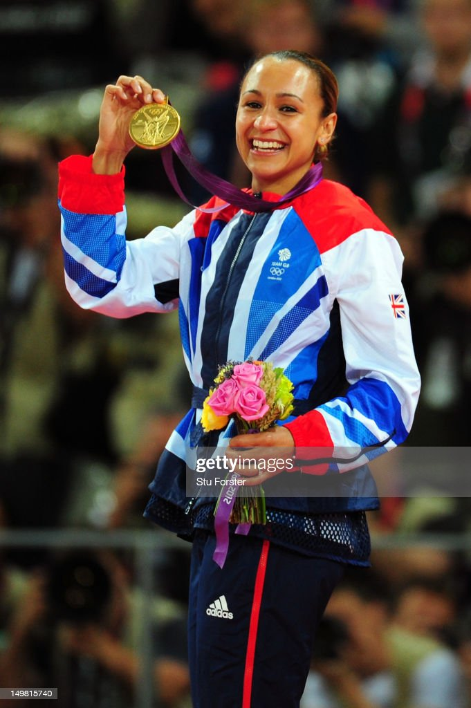 Gold medalist Jessica Ennis of Great Britain poses on the podium during the medal ceremony for the Women'd Heptathlon on Day 8 of the London 2012...