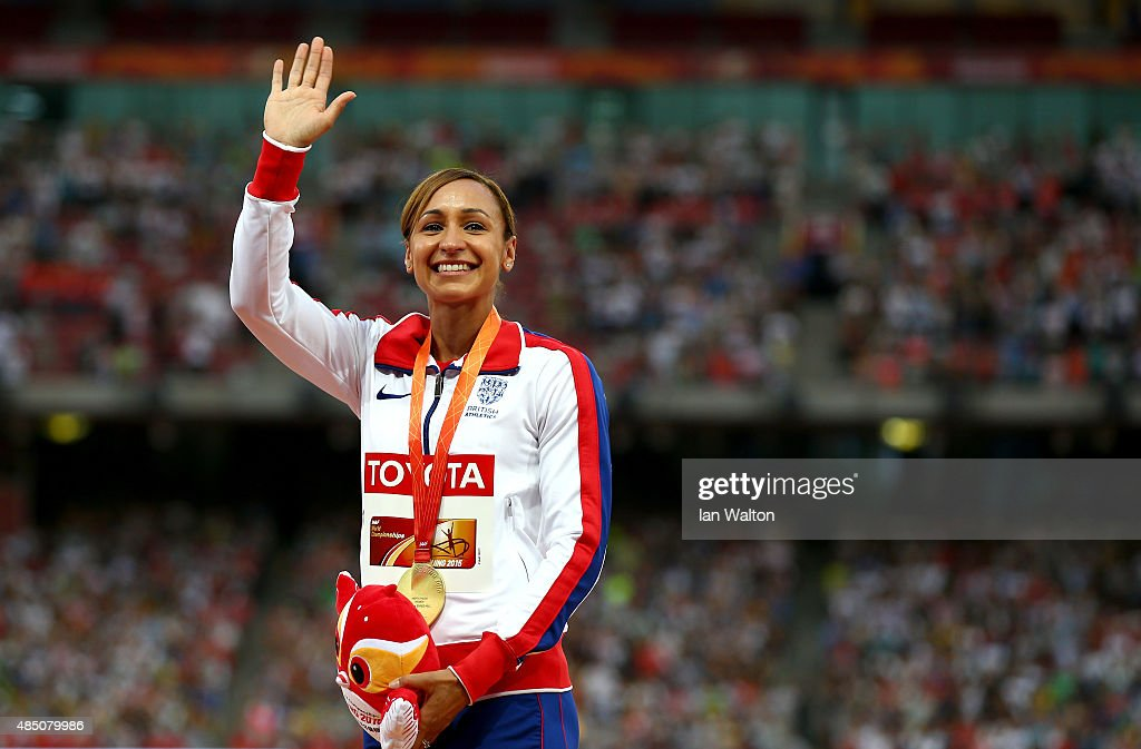 Gold medalist Jessica EnnisHill of Great Britain poses on the podium during the medal ceremony for the Women's Heptathlon during day three of the...