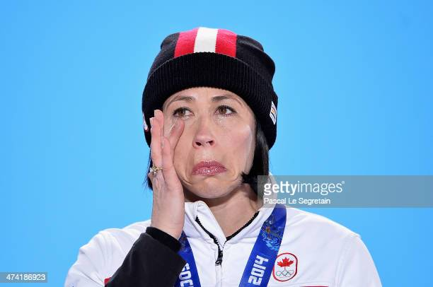 Gold medalist Jill Officer of Canada celebrates during the medal ceremony for Women's Curling on Day 15 of the Sochi 2014 Winter Olympics at Medals...