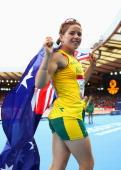 Gold medalist Jodi Elkington of Australia celebrates after the Women's T37/38 Final at Hampden Park Stadium during day four of the Glasgow 2014...
