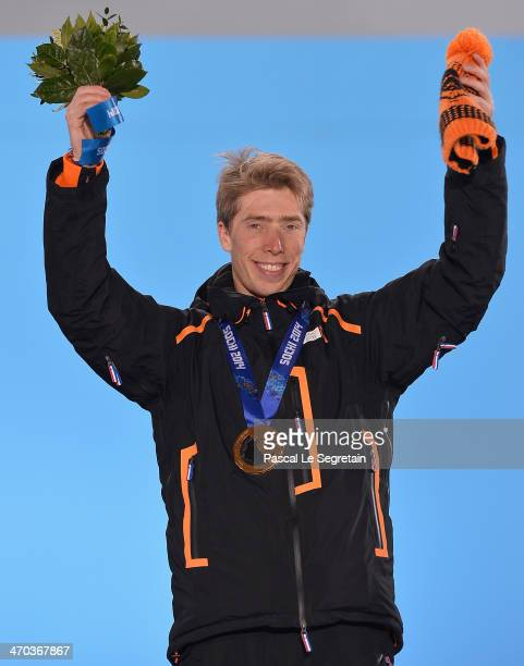 Gold medalist Jorrit Bergsma of the Netherlands celebrates during the medal ceremony for the Men's 10000m Speed Skating x on day twelve of the Sochi...