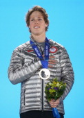 Gold medalist Joss Christensen of the United States celebrates during the medal ceremony for the Freestyle Skiing Men's Ski Slopestyle on day six of...