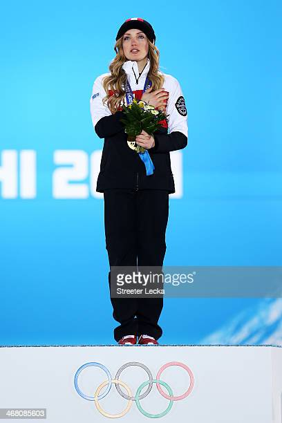 Gold medalist Justine DufourLapointe of Canada celebrates during the medal ceremony for the Ladies' Moguls Final 3 on day 2 of the Sochi 2014 Winter...