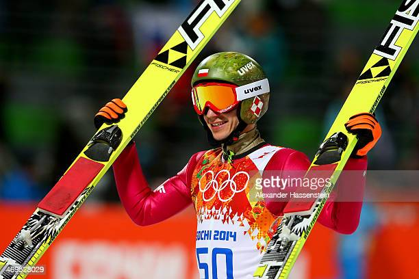 Gold medalist Kamil Stoch of Poland celebrates after the Men's Large Hill Individual Final Round on day 8 of the Sochi 2014 Winter Olympics at the...