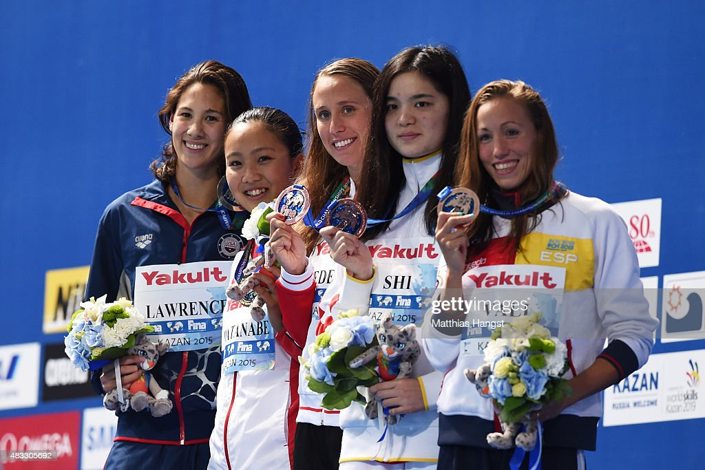 Gold medalist <a gi-track='captionPersonalityLinkClicked' href=/galleries/search?phrase=Kanako+Watanabe&family=editorial&specificpeople=8563053 ng-click='$event.stopPropagation()'>Kanako Watanabe</a> of Japan poses with silver medalist Micah Lawrence of the United States and bronze medalists Jessica Vall of Spain, <a gi-track='captionPersonalityLinkClicked' href=/galleries/search?phrase=Rikke+Moller+Pedersen&family=editorial&specificpeople=6523684 ng-click='$event.stopPropagation()'>Rikke Moller Pedersen</a> of Denmark and Jinglin Shi of China during the medal ceremony for the Women's 200m Breaststroke on day fourteen of the 16th FINA World Championships at the Kazan Arena on August 7, 2015 in Kazan, Russia.