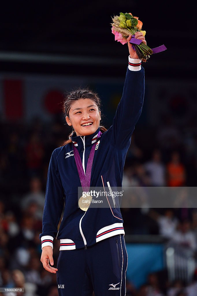 Gold medalist <a gi-track='captionPersonalityLinkClicked' href=/galleries/search?phrase=Kaori+Icho&family=editorial&specificpeople=2374687 ng-click='$event.stopPropagation()'>Kaori Icho</a> of Japan celebrates winning the gold medal in the Women's Freestyle 63 kg Wrestling on Day 12 of the London 2012 Olympic Games at ExCeL on August 8, 2012 in London, England.