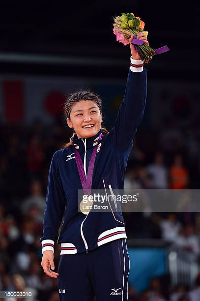 Gold medalist Kaori Icho of Japan celebrates winning the gold medal in the Women's Freestyle 63 kg Wrestling on Day 12 of the London 2012 Olympic...