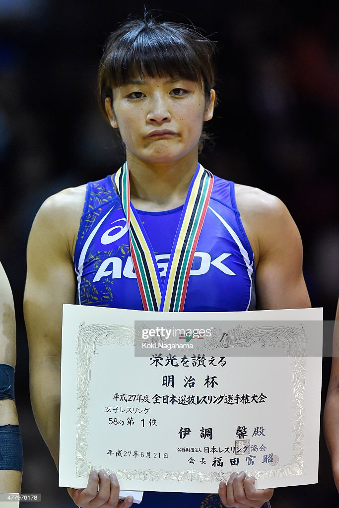 Gold Medalist <a gi-track='captionPersonalityLinkClicked' href=/galleries/search?phrase=Kaori+Icho&family=editorial&specificpeople=2374687 ng-click='$event.stopPropagation()'>Kaori Icho</a> poses for photographs on the podium at the award ceremony of the Women's 58kg free style during All Japan Wrestling Championships at Yoyogi National Gymnasium on June 21, 2015 in Tokyo, Japan.