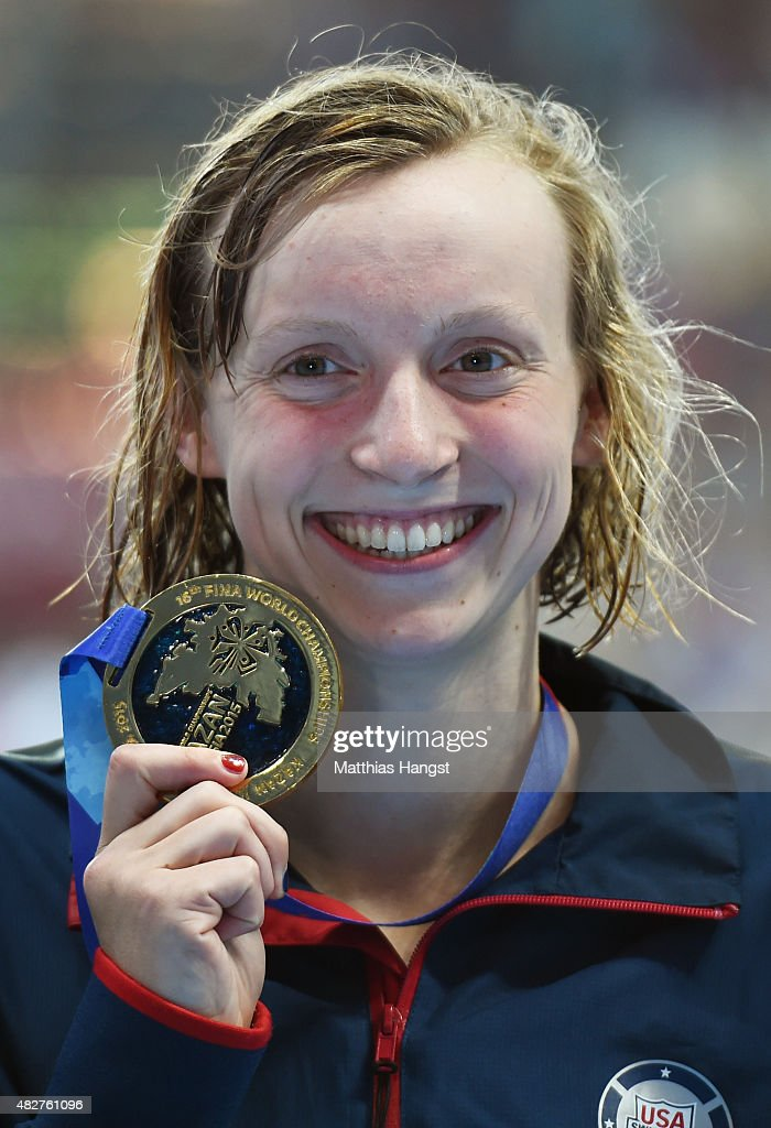 Gold medalist <a gi-track='captionPersonalityLinkClicked' href=/galleries/search?phrase=Katie+Ledecky&family=editorial&specificpeople=9595921 ng-click='$event.stopPropagation()'>Katie Ledecky</a> of the United States poses during the medal ceremony for the Women's 400m Freestyle on day nine of the 16th FINA World Championships at the Kazan Arena on August 2, 2015 in Kazan, Russia.