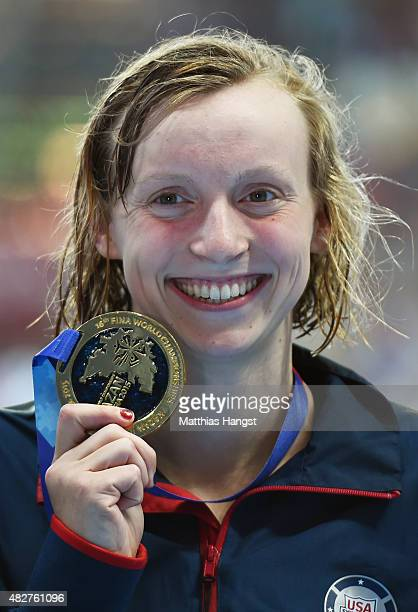 Gold medalist Katie Ledecky of the United States poses during the medal ceremony for the Women's 400m Freestyle on day nine of the 16th FINA World...