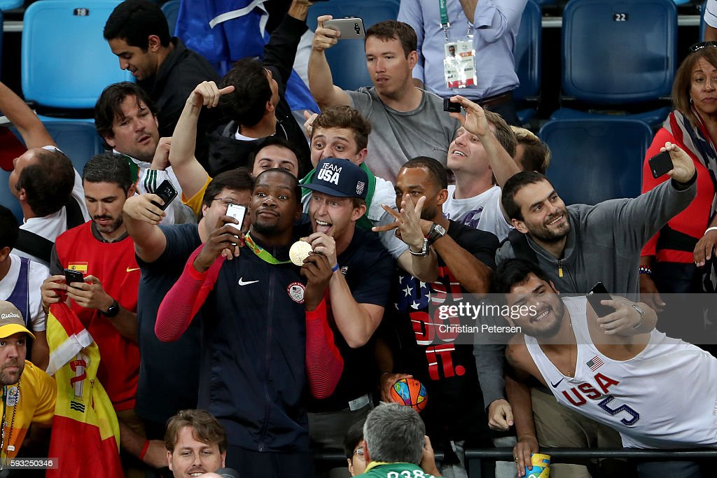Gold medalist Kevin Durant of the United States celebrates with the crowd following the Men's Gold medal game on Day 16 of the Rio 2016 Olympic Games...