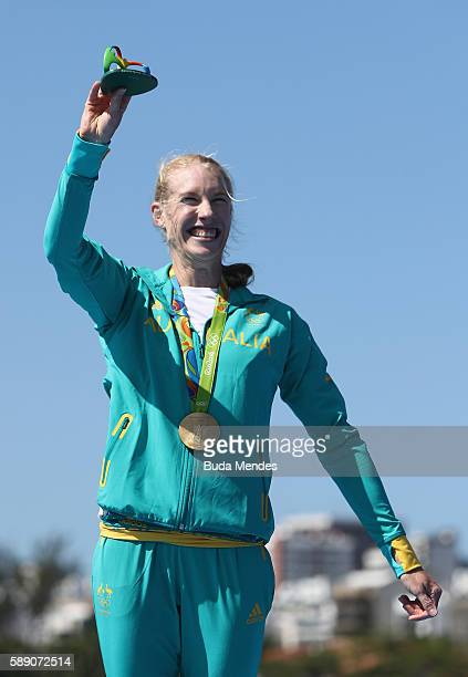 Gold medalist Kimberley Brennan of Australia celebrates on the podium at the medal ceremony for the Women's Single Sculls on Day 8 of the Rio 2016...