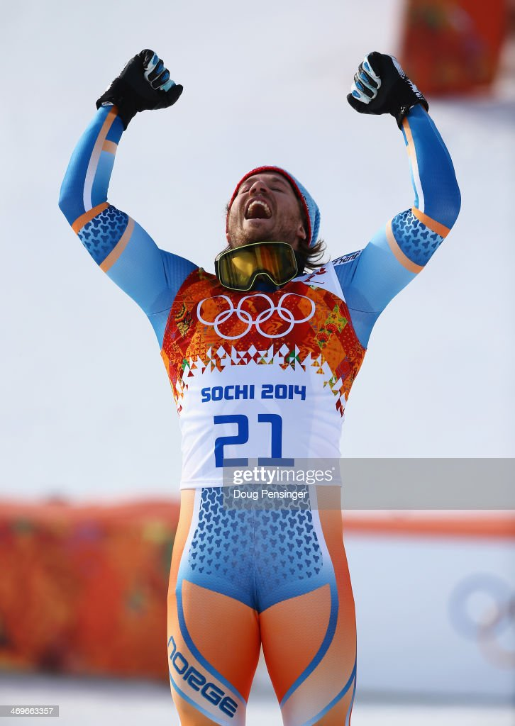 Gold medalist <a gi-track='captionPersonalityLinkClicked' href=/galleries/search?phrase=Kjetil+Jansrud&family=editorial&specificpeople=816480 ng-click='$event.stopPropagation()'>Kjetil Jansrud</a> of Norway celebrates during the flower ceremony for the Alpine Skiing Men's Super-G on day 9 of the Sochi 2014 Winter Olympics at Rosa Khutor Alpine Center on February 16, 2014 in Sochi, Russia.
