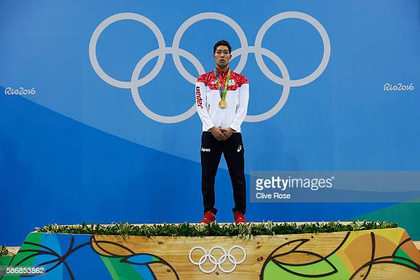 Gold medalist Kosuke Hagino of Japan poses during the medal ceremony for the Final of the Men's 400m Individual Medley on Day 1 of the Rio 2016...