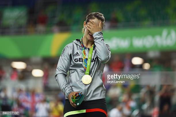 Gold medalist Kristina Vogel of Germany reacts during the medal ceremony after the Women's Sprint Finals race on Day 11 of the Rio 2016 Olympic Games...