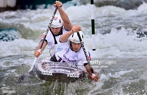 Gold medalist Ladislav Skantar and Peter Skantar of Slovenia complete the final heat at the Canoe Double Men during the European Canoe Slalom...