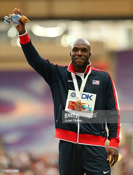 Gold medalist LaShawn Merritt of the United States poses on the podium during the medal ceremony for the Men's 400m metres during Day Six of the 14th...