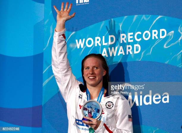 Gold medalist Lilly King of the United States poses with the medal won during the Women's 100m Breaststroke final on day twelve of the Budapest 2017...